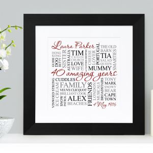 Personalised 40th Birthday Square Word Art